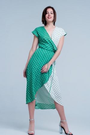 Vestido verde midi cruzado con estampado de mezcla de lunares