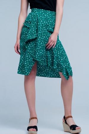 Falda midi verde con estampado floral de lunares y detalle de volante