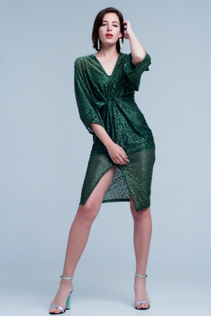 Vestido verde de encaje transparente