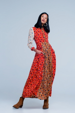 Vestido Rojo camisero de manga larga con flores de jardín