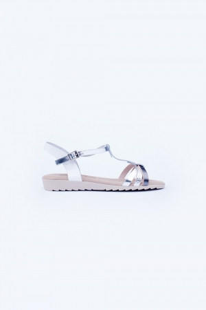 Sliver chunky flat sandals