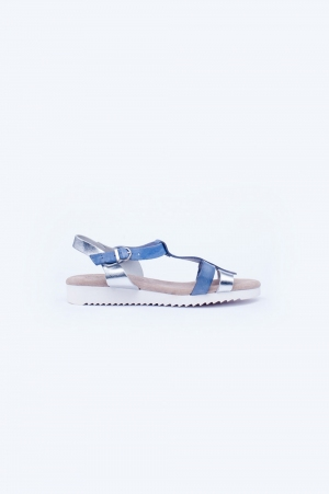 Blue chunky flat sandals