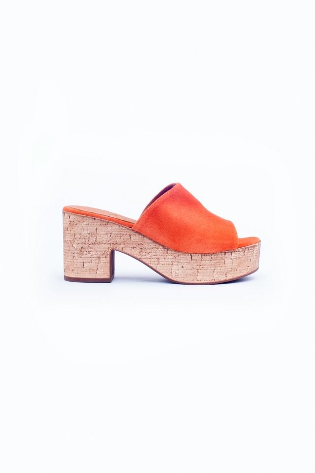 Orange heeled sandals