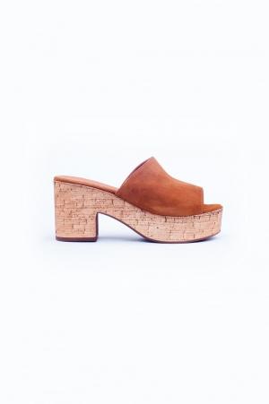 Brown heeled sandals