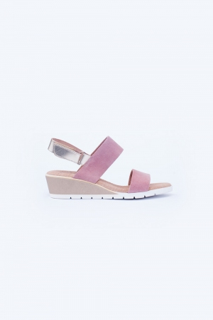 Light pink wide cut strap wedges