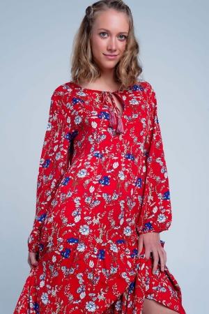 Vestido midi rojo holgado con bajo con volante y diseño de florecitas