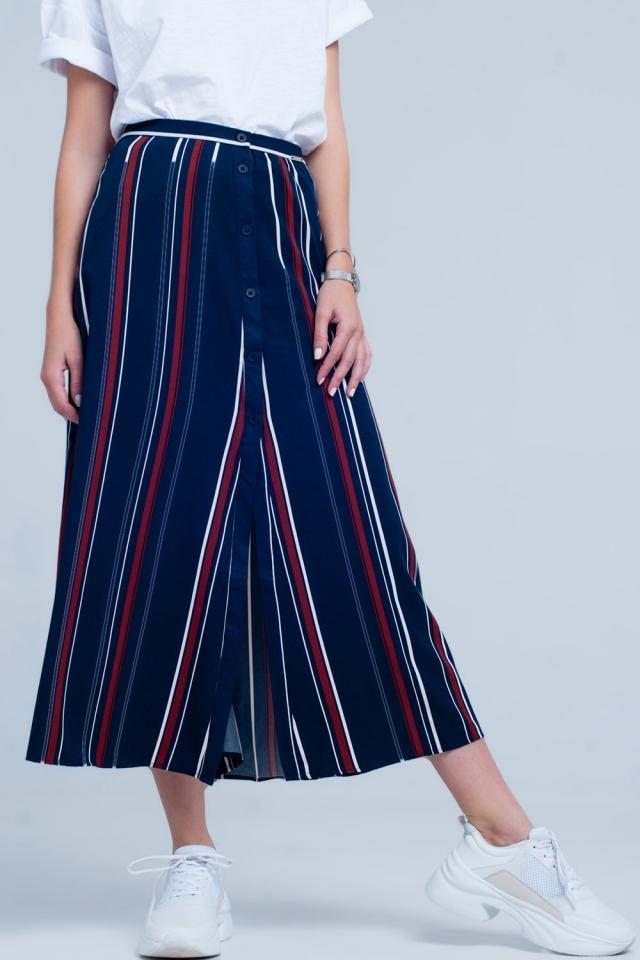 Falda midi azul marino a rayas