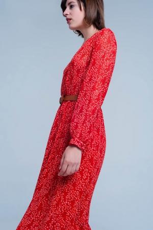 Vestido midi cruzado con estampado floral color rojo