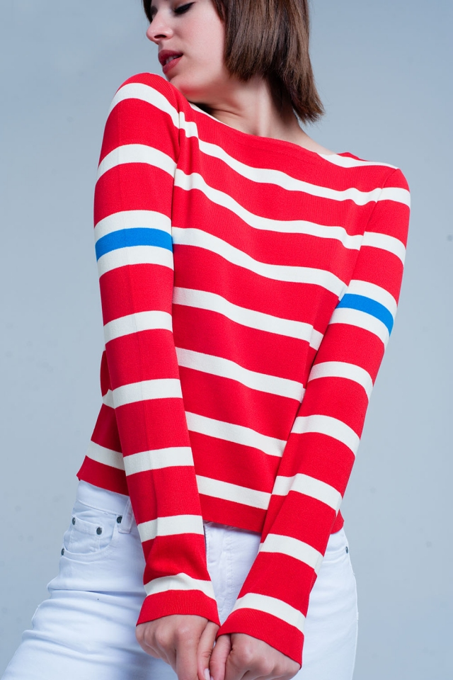 Red sweater with white stripes