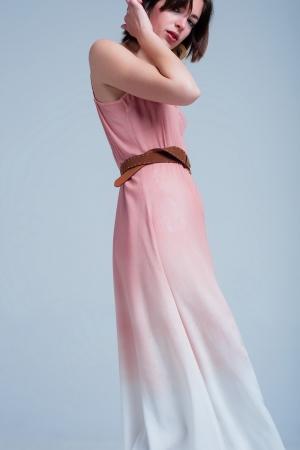 Vestido rosa midi veraniego y amplio de tirantes