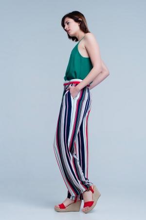 Pantalón de pernera ancha con talle alto y diseño a rayas verde