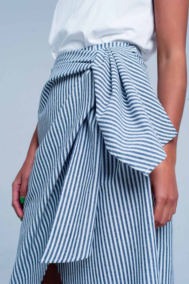 Striped midi skirt with bow in blue