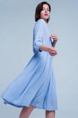 Vestido azul midi de efecto movimiento con lunares monocromático