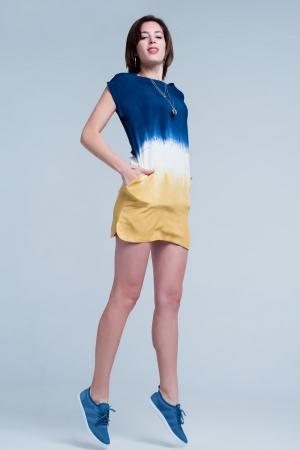 Vestido estilo camiseta con detalle de bolsillo color mostaza