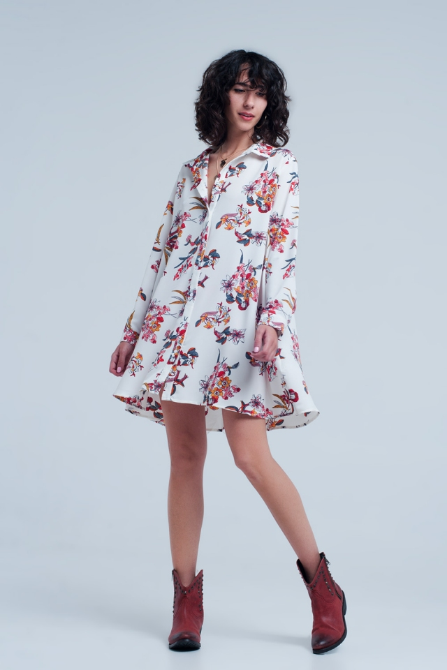 White dress with flower print