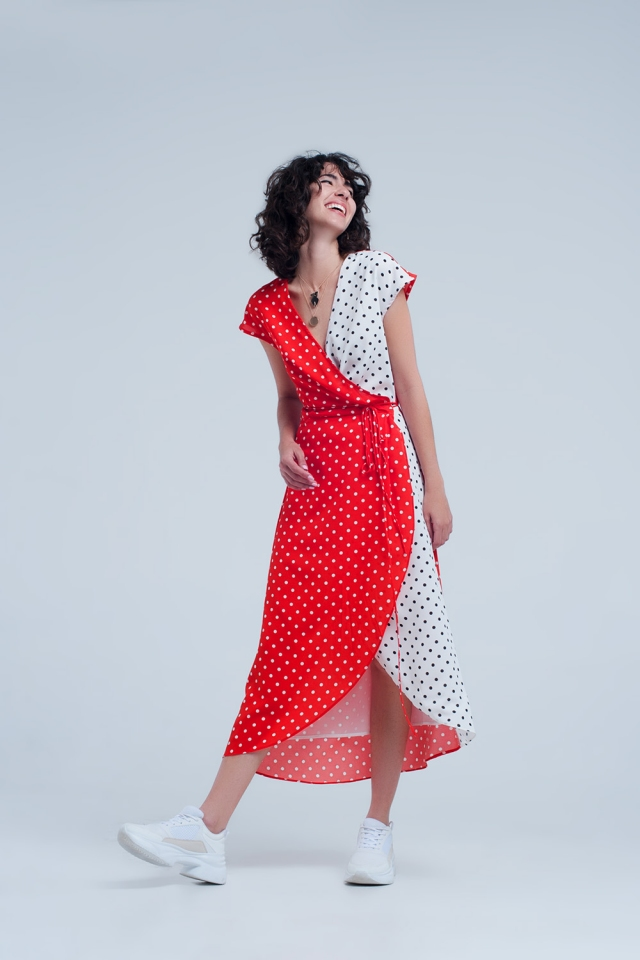 Red wrap dress with polka dots