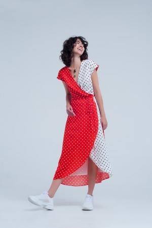 Vestido rojo midi cruzado con estampado de mezcla de lunares