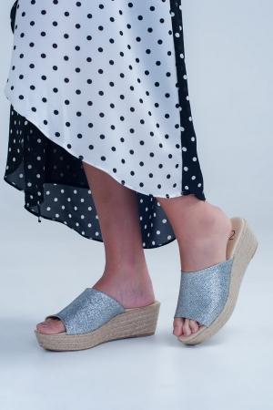 Sandalias de rafia metalizada