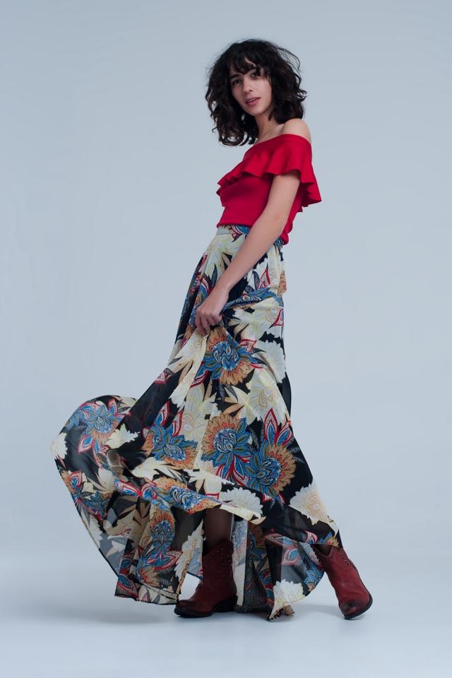 Falda larga negra con plisado floral
