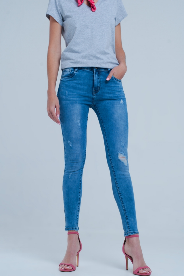 Slightly distressed light wash jeans