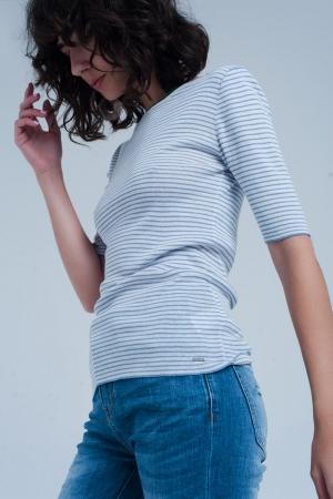 Jersey Color azul de manga corta con diseño a rayas bretonas