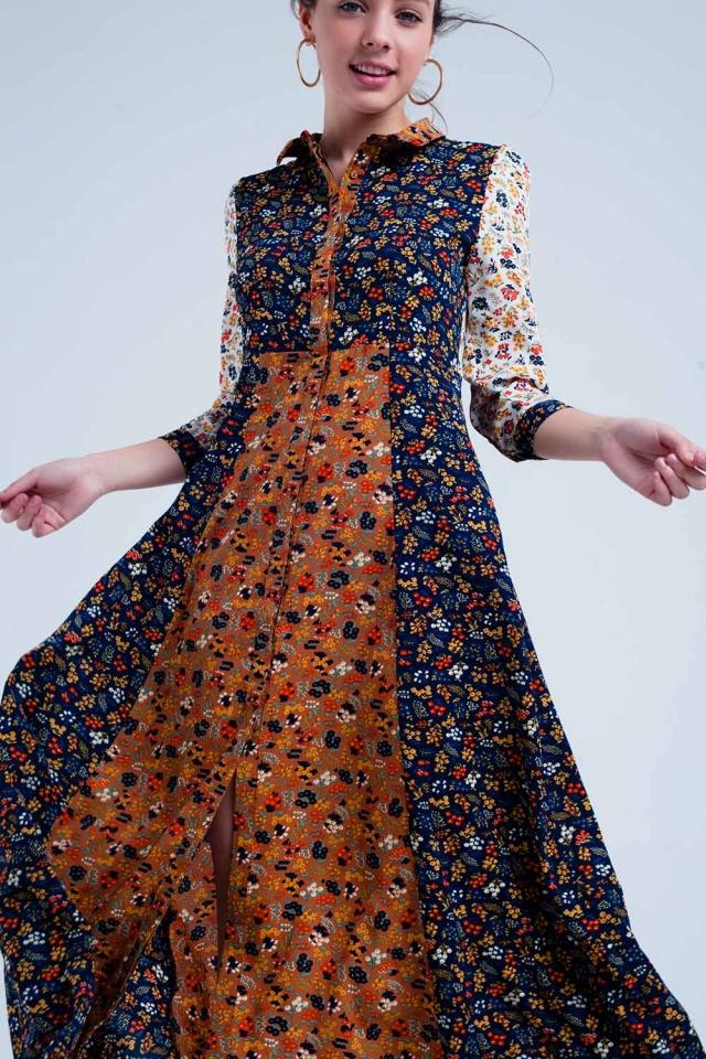 Vestido color marino camisero de manga larga con flores de jardín