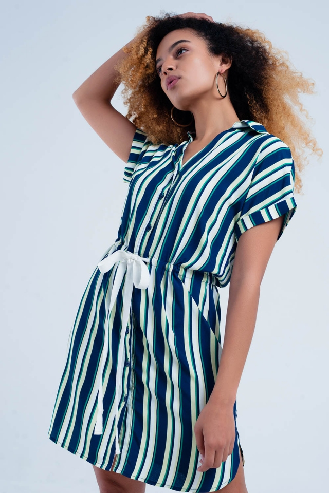 Vestido color marino camisero con estampado de rayas y lazo a la cintura