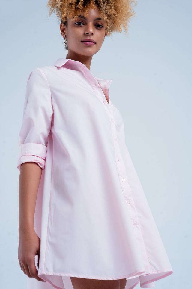 Camisa vestido larga rosa en popelin