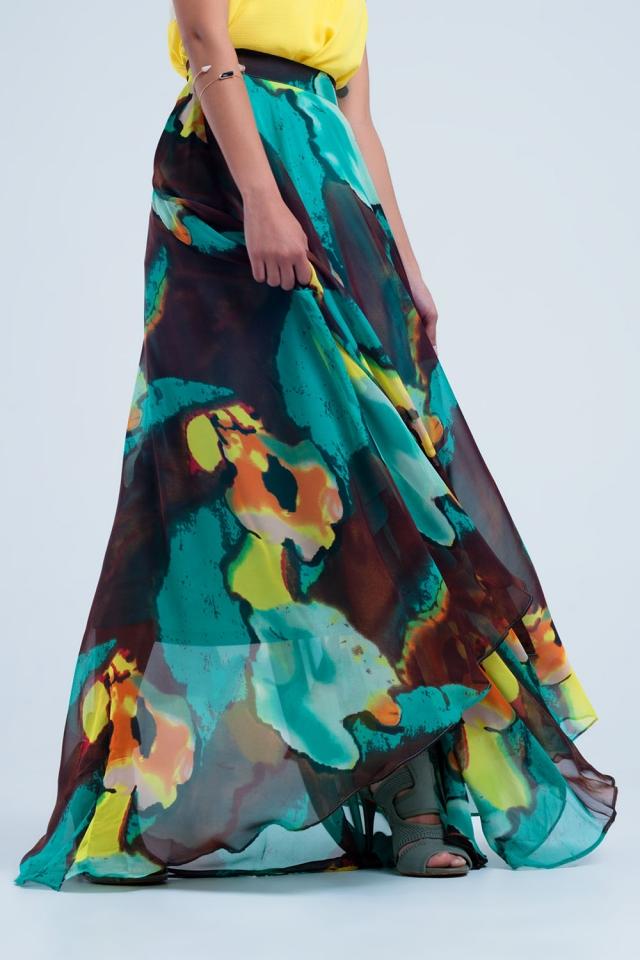 Falda maxi marrón con estampado