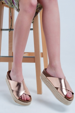 Rose gold cross strap espadrille sandals