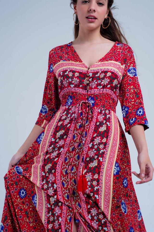 Vestido largo con rayas y estampado floral rojo