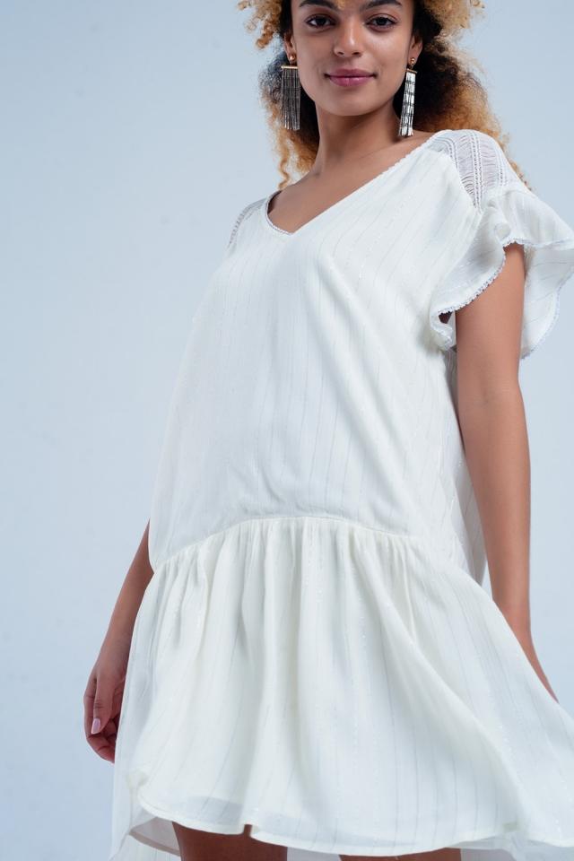 Vestido holgado crema con rayas