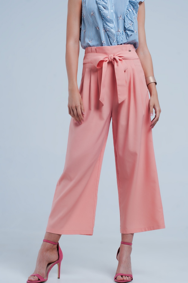 Pantalones coral de pernera ancha con detalle plisado paperbag