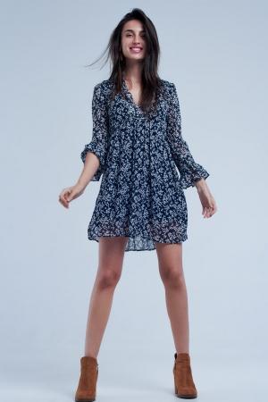 Vestido azul marino amplio y estampado con detalle de manga de campana