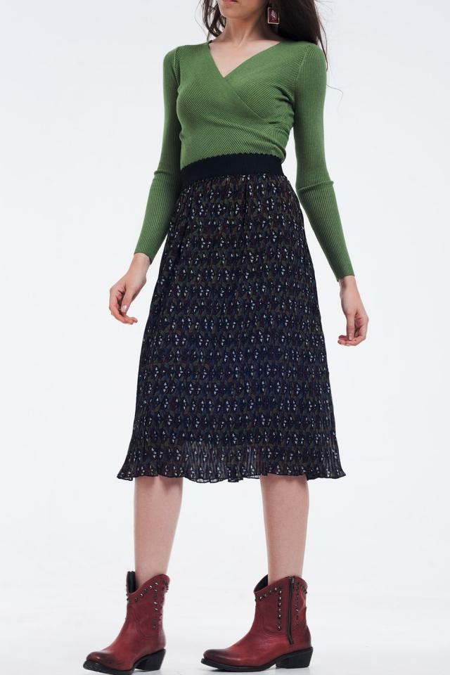 Falda midi plisada con estampado de flores oscuro