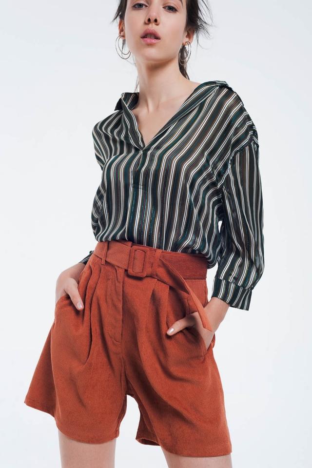 Blusa a rayas verde con lineas brillantes