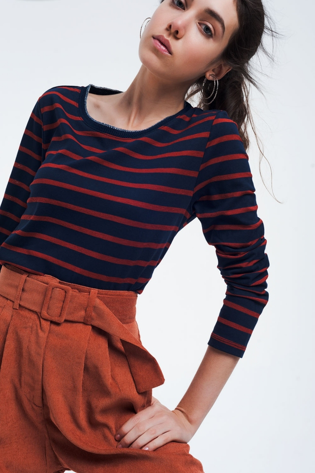 Camisa básica de rayas azul marino