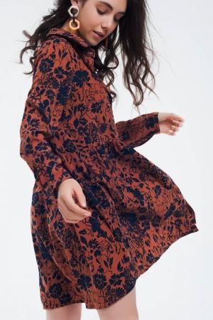 Vestido camisero amplio con plisado en caldera