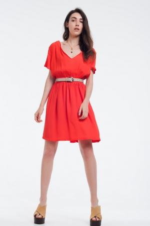Vestido naranja mini con vuelo y detalle en los hombros