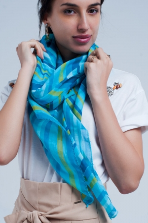 Fular turquesa con rayas azules