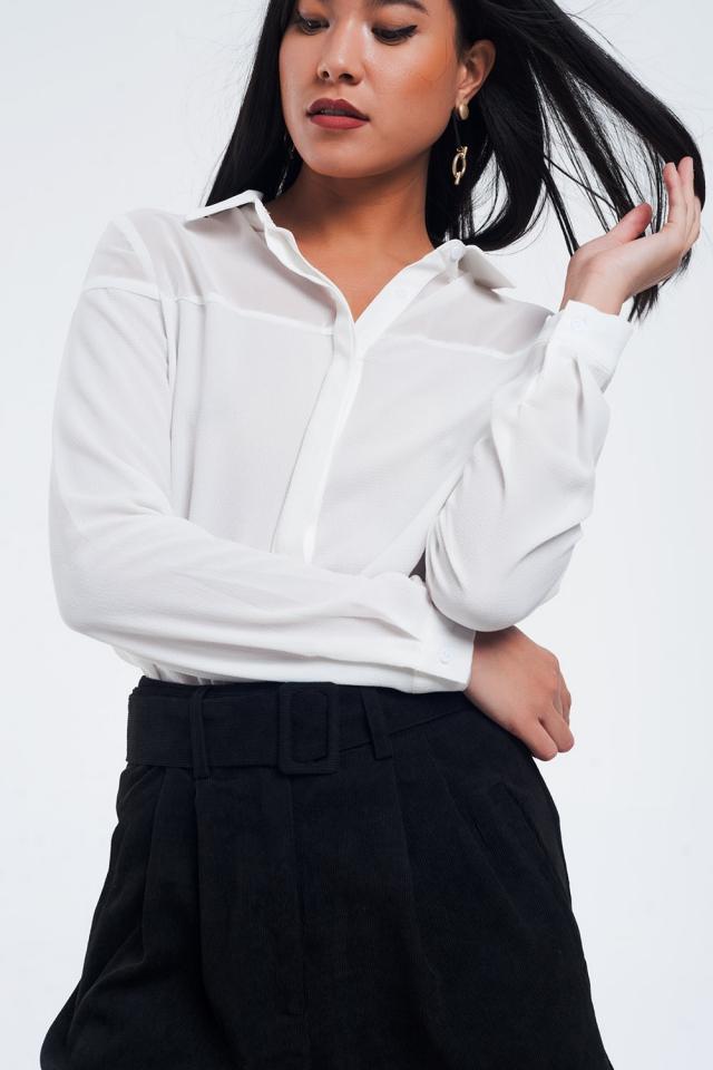 Camisa crema medio transparente