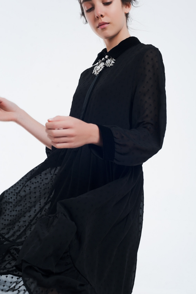 Vestido midi negro bimaterial