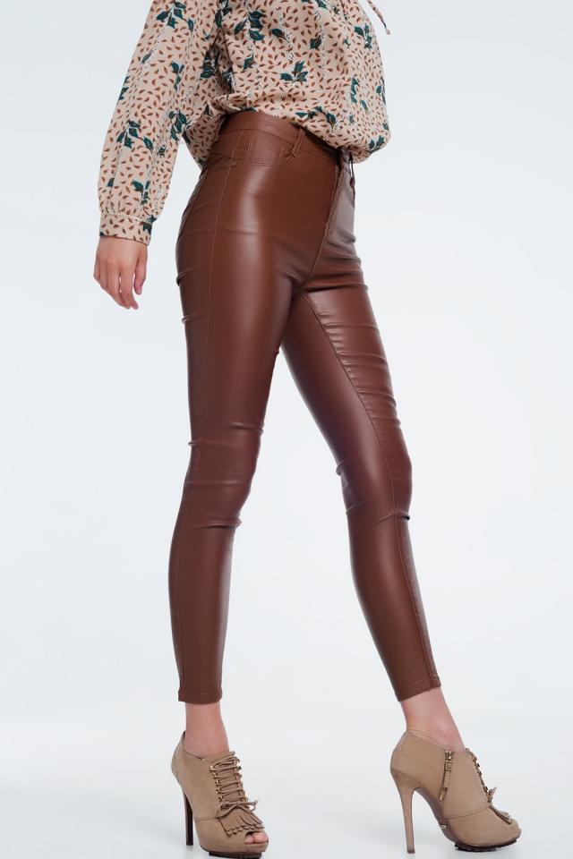Pantalones ajustados con cintura de talle alto marron