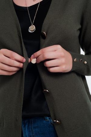 Cárdigan caqui con detalle de botones