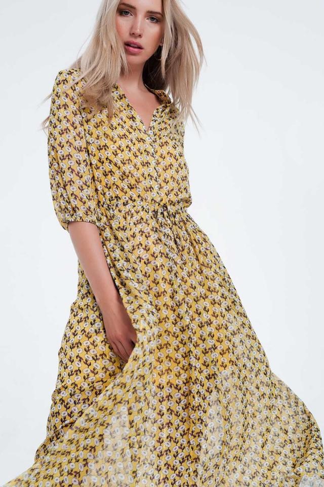 Vestido largo de manga larga con diseño floral color amarillo