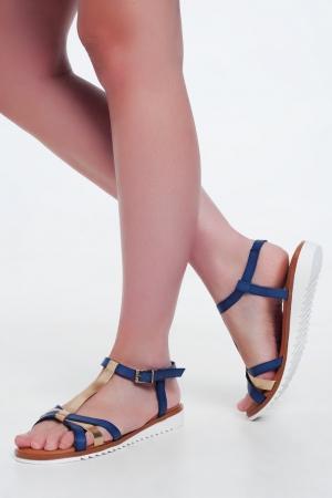 Sandalias de cuña doradas y azules