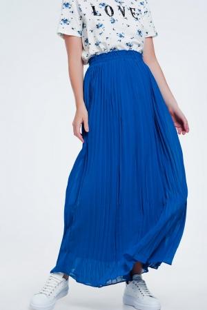 Falda larga plisada en azul