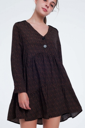 Minivestido con botones y falda a capas con estampado floral