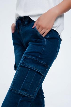 Vaqueros de corte slim azules y cintura elástica