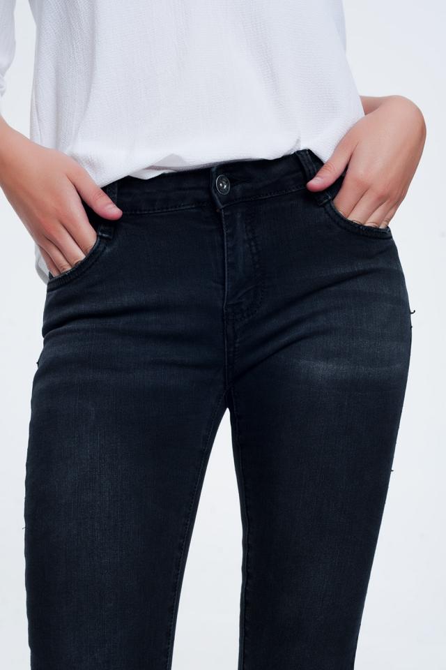 Jeans negros lavados ajustados